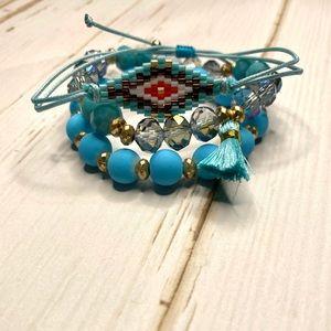Seed Bead Diamond and Tassel Mixed Bead Bracelets